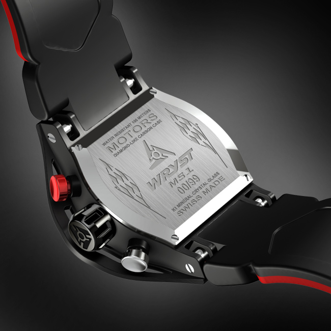 Engraved Caseback of the Wryst Motors MS1
