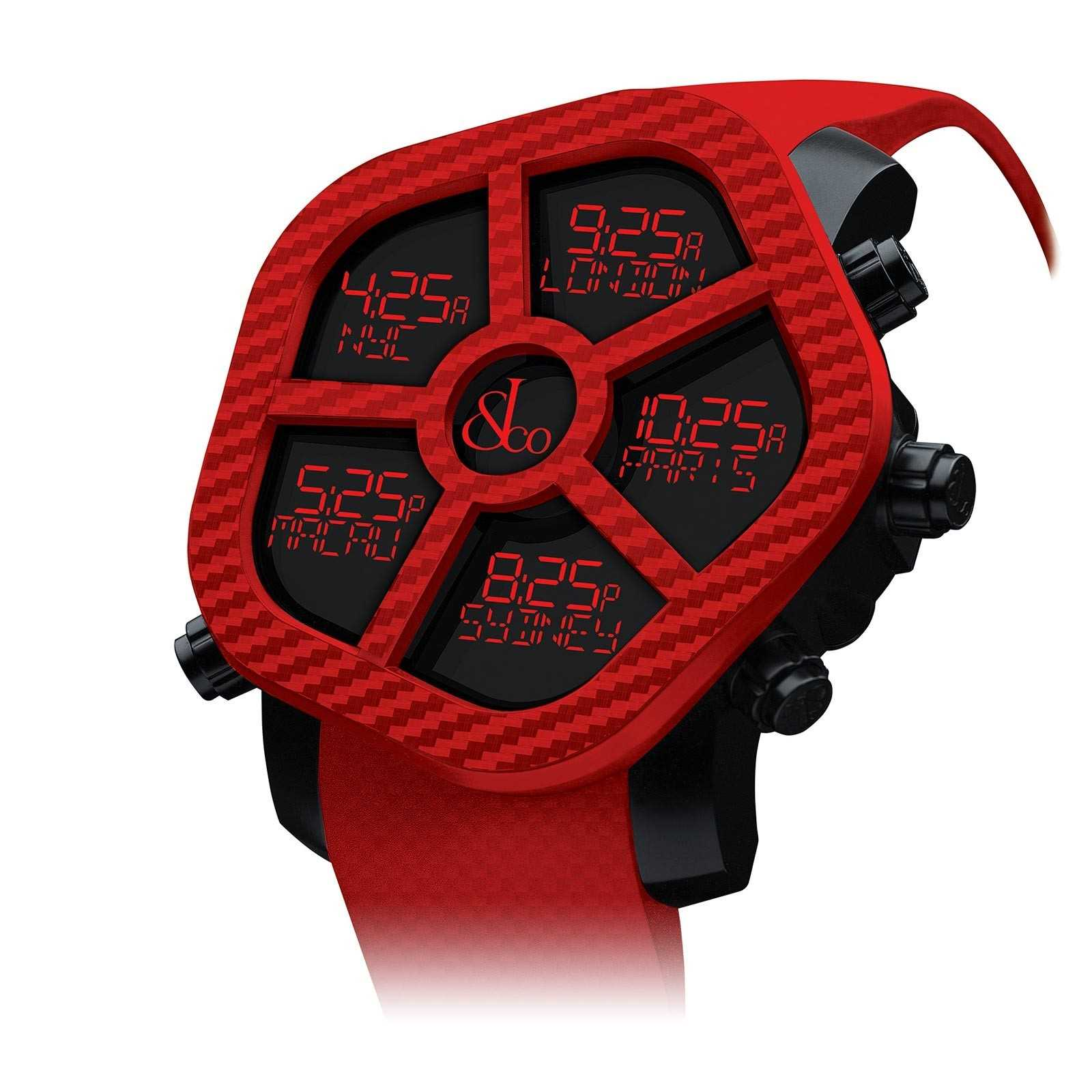 Red Jacob & Co Ghost Color five timezone watch