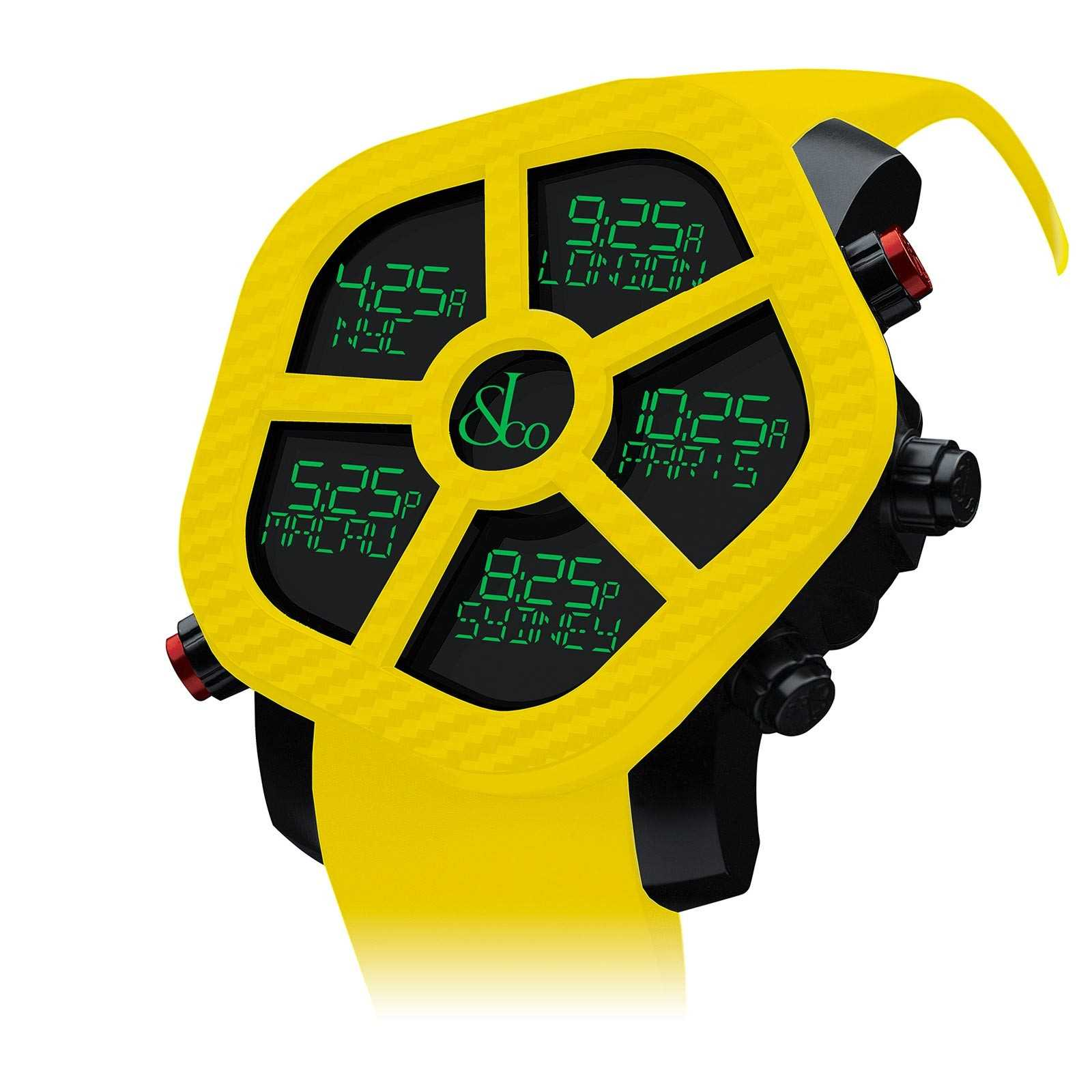 Yellow Jacob & Co Ghost Color five timezone watch