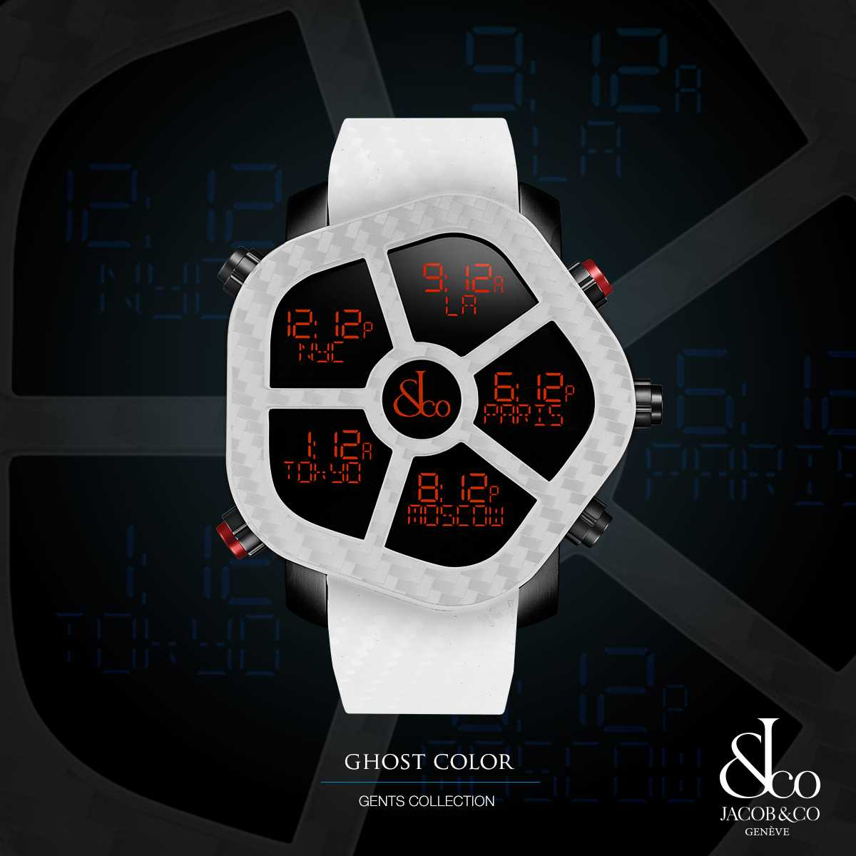 Jacob & Co Ghost Color Swiss Five Timezone Watch
