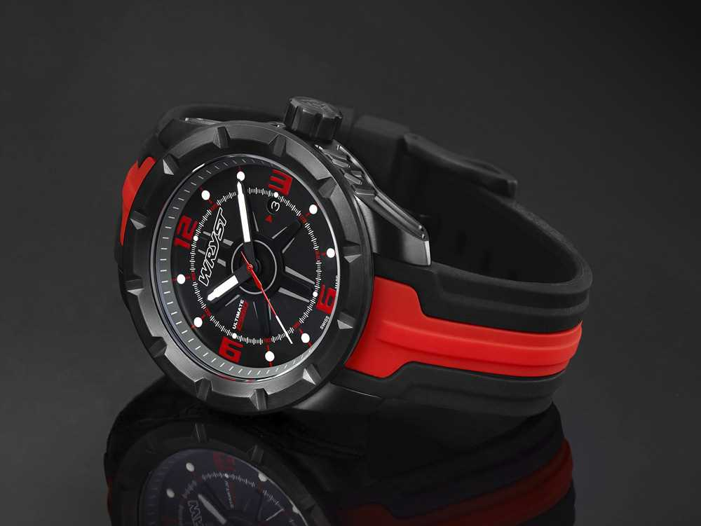 sports watch black red swiss made limited edition